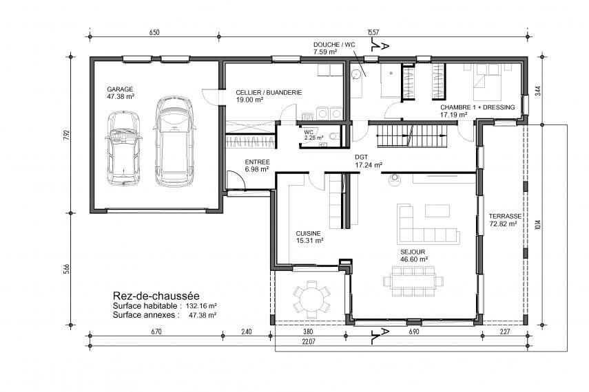 design 3 2 haus 6z mit garage und pool batige. Black Bedroom Furniture Sets. Home Design Ideas
